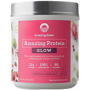 Organic Plant-Based Amazing Glow Protein - Wild Berry Hibiscus (15 Servings)